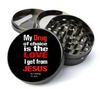 Funny Jesus My Drug of Choice Deluxe Metal 5 Piece Herb Grinder With Fine Screen - Create Your Own Grinder!