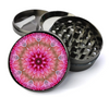 Pink Flower Mandala Deluxe Metal 5 Piece Herb Grinder With Fine Screen
