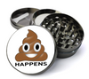 S*it Happens Poop Emoji Deluxe Metal 5 Piece Herb Grinder With Fine Screen - Cheap Grinders You Can Customize