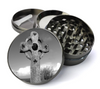 Grey Celtic Cross Deluxe Metal 5 Piece Herb Grinder With Fine Screen