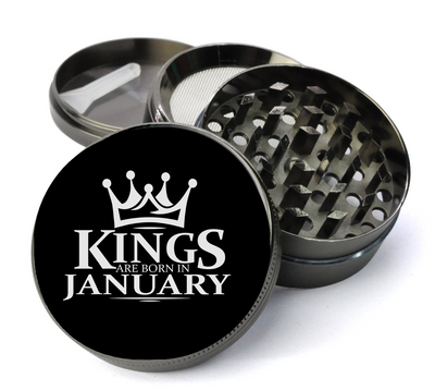 Kings Are Born in January Grinder Deluxe Metal 5 Piece Herb Grinder With Fine Screen