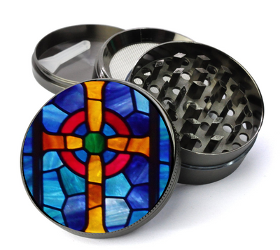 Stained Glass Cross Large 5 Piece Spice & Herb Grinder With Microfine Mesh Screen