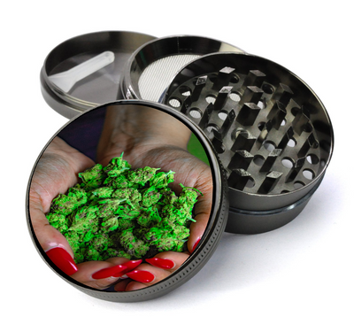 Cannabis in Hand Grinder Metal 5 Piece Herb Grinder With Fine Screen - Create Your Own Grinder!