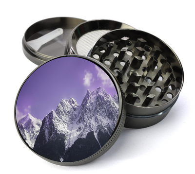 Snow Mountain with Purple Skies Grinder Metal 5 Piece Herb Grinder With Fine Screen - Create Your Own Grinder!