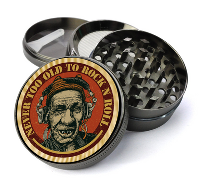 Never Too Old to Rock and Roll Deluxe Metal 4 Piece Herb Grinder With Fine Screen