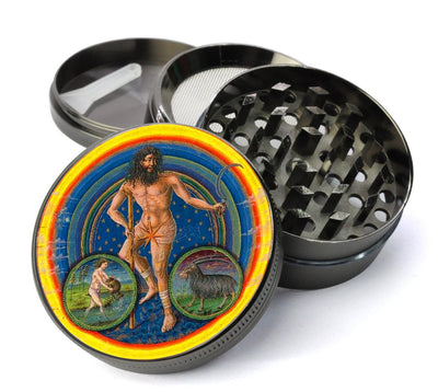 Medieval Saturn Planetary Zodiac Deluxe Metal 4 Piece Herb Grinder With Fine Screen
