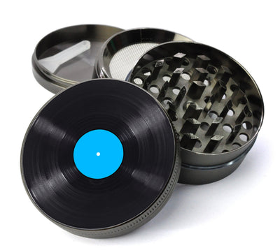 Vinyl LP - Blue Label Deluxe Metal 4 Piece Herb Grinder With Fine Screen