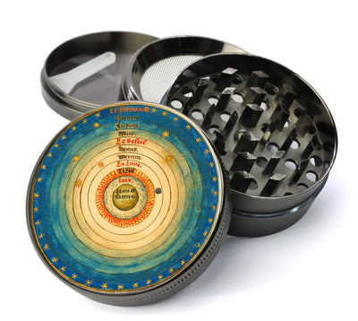 Medieval Earth Centered Universe Geocentric 5 Piece Spice & Herb Grinder With Microfine Mesh Screen