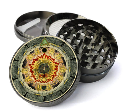 The Cosmic Rose - Hermetic Alchemy 5 Piece Spice & Herb Grinder With Microfine Mesh Screen