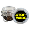 Airtight Stash Jar with Silicone Seal - Stop Wars - Food-Grade Plastic with Locking Wire Top - Smell Proof Hermes Container