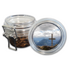 Airtight Stash Jar with Silicone Seal - Wooden Cross - Food-Grade Plastic with Locking Wire Top - Smell Proof Hermes Container