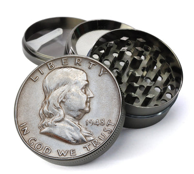Ben Franklin Half Dollar Large 5 Piece Spice & Herb Grinder With Microfine Mesh Screen