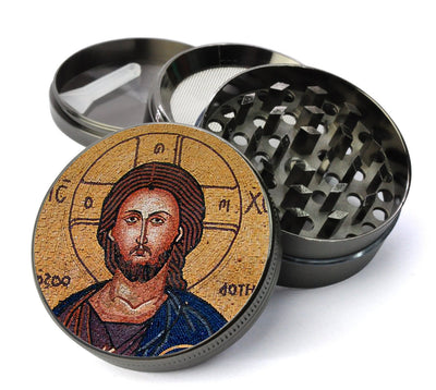 Byzantine Christ Icon Deluxe Metal 4 Piece Herb Grinder With Fine Screen