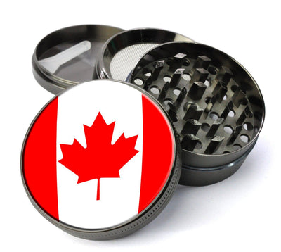 Canadian Flag #37 Extra Large 5 Piece Spice  Herb Grinder with / Catcher - Unique  Catcher Cannabis Grinders - Expression Tees