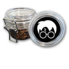 Airtight Stash Jar with Silicone Seal - Harry Potter Glasses Lightning Bolt Hair - Food-Grade Plastic with Locking Wire Top - Smell Proof Hermes Container