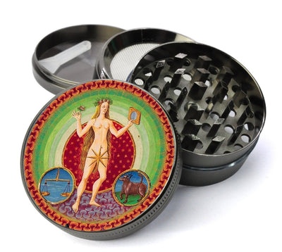 Medieval Venus Planetary Zodiac Deluxe Metal 4 Piece Herb Grinder With Fine Screen