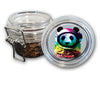 Airtight Stash Jar with Silicone Seal - Neon Space Panda - Food-Grade Plastic with Locking Wire Top - Smell Proof Hermes Container