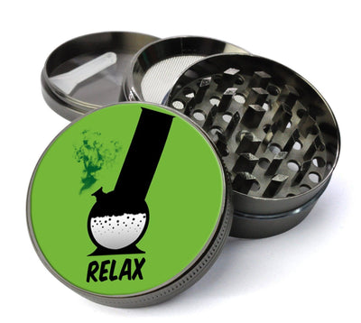Relax Bong #9 Extra Large 5 Piece Spice  Herb Grinder with / Catcher - Unique  Catcher Grinder For Herbs with Chamber - Expression Tees