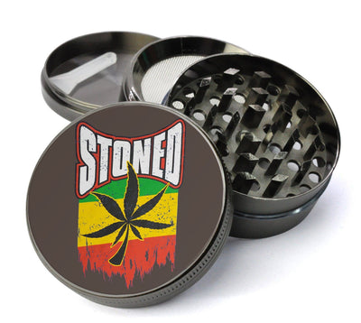 Stoned Rasta Pot Leaf #12 Extra Large 5 Piece Spice  Herb Grinder with / Catcher - Grinders with  Catchers For Sale - Expression Tees