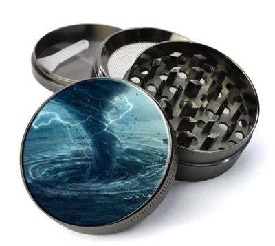 Tornado Over the Ocean Large 5 Piece Spice & Herb Grinder With Microfine Mesh Screen