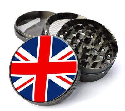 UK Flag Large 5 Piece Spice & Herb Grinder With Microfine Screen