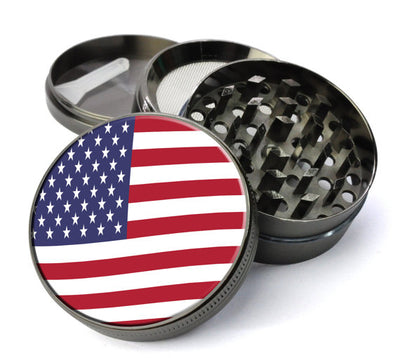 American Flag Large 5 Piece Spice & Herb Grinder With Microfine Mesh Screen