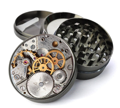 Watch Gears Large 5 Piece Spice & Herb Grinder With Microfine Mesh Screen
