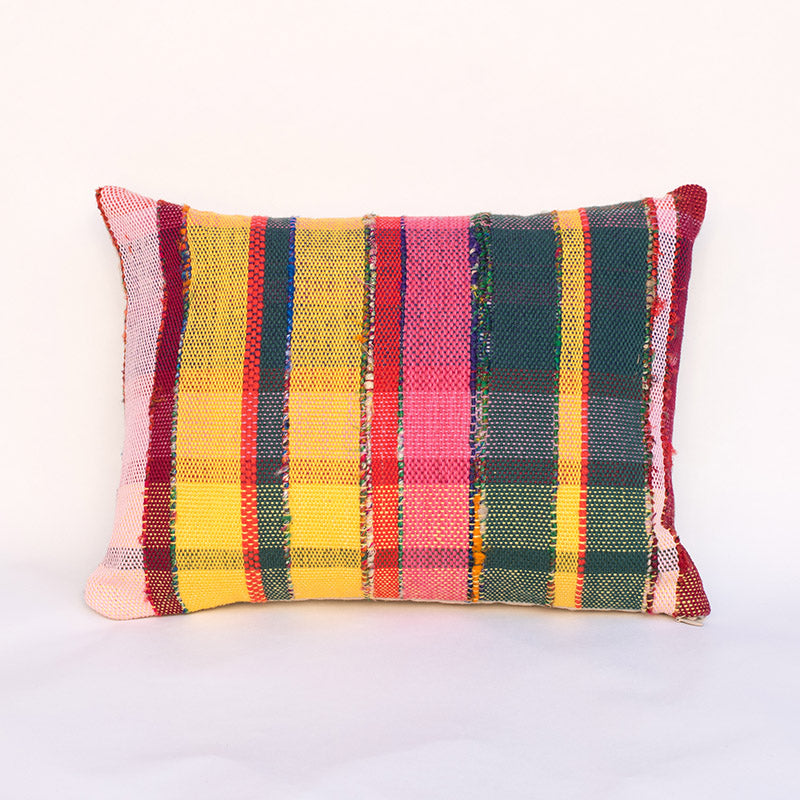 Rainbow Plaid Striped Accent Pillow