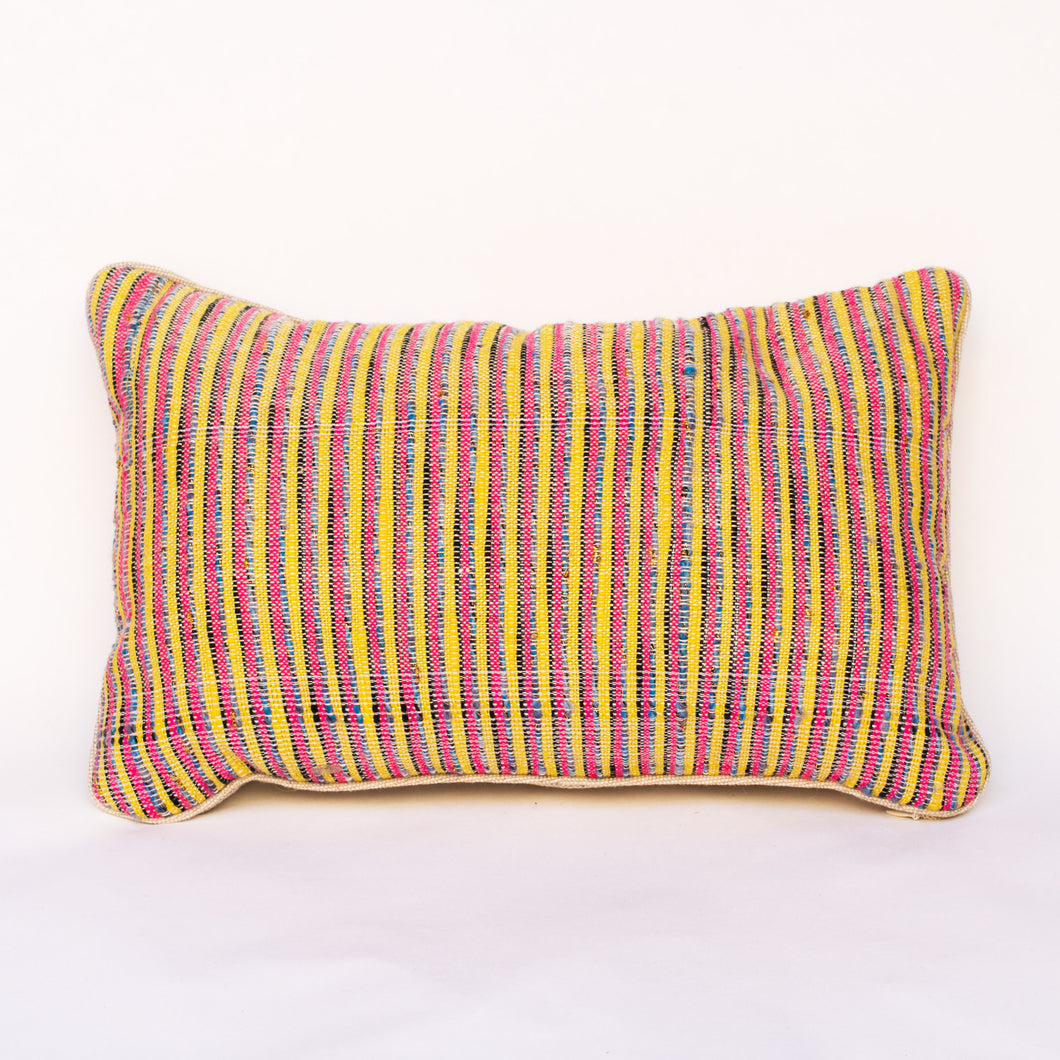 Yellow and Pink Stripped Pillow