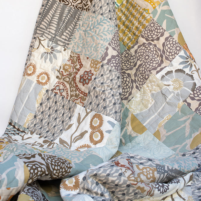 Soft Meadows Linen Patched Quilt