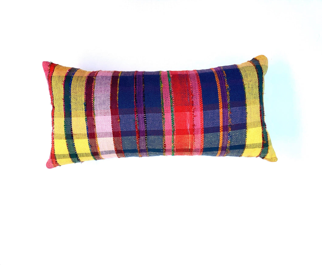 Rainbow Plaid Long Pillow