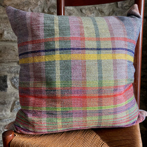Muted Rainbow Plaid Square Pillow