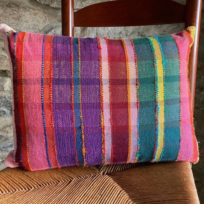 Rainbow Plaid Rectangle Pillow