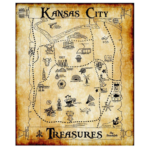 "Commandeer Brand Kansas City Treasures Print ""Worn Map"""