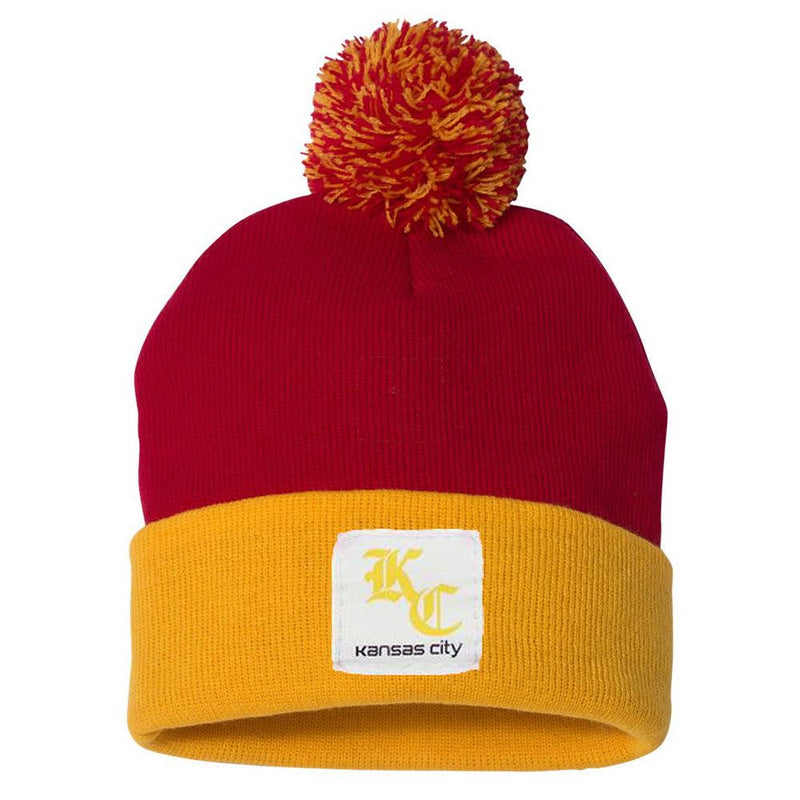 Commandeer Brand KC Hartt Pom Beanie - Red and Gold