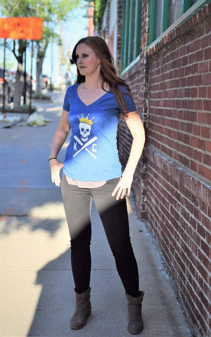 Commandeer Clothing Crossed Bats - Women's V-Neck - Blue