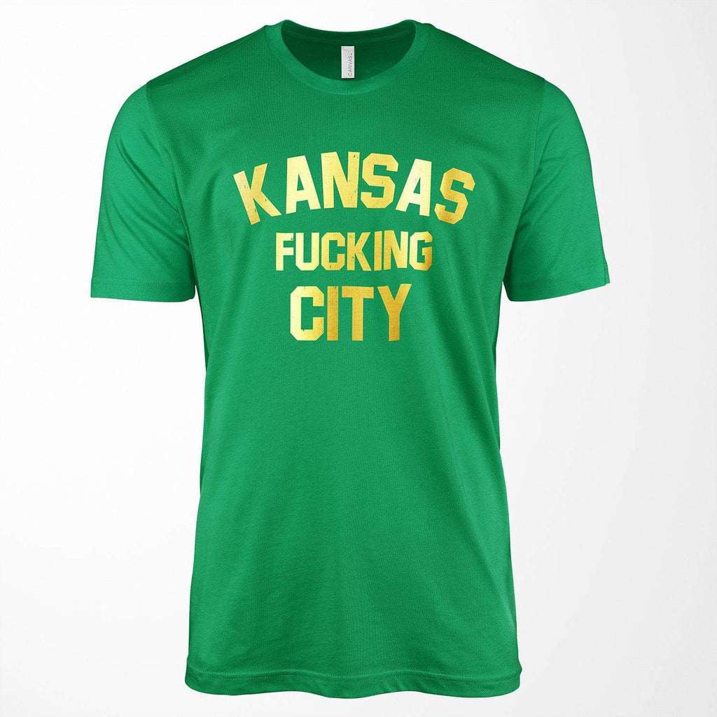 Commandeer Clothing Kansas F*cking City Tee - Gold Foil On Green