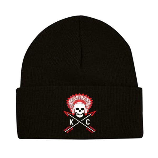 Commandeer Headwear Black Cuffed Crossed Arrows Beanie