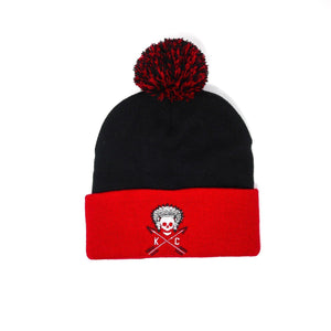 Commandeer Headwear Red/Black w/ Pom Crossed Arrows Pom Beanie