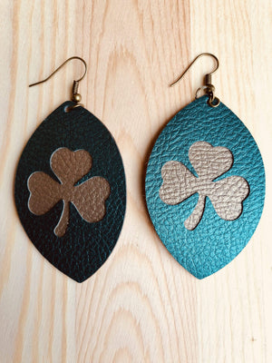 Commandeer Jewelry Shamrock Cutout Leather Earrings