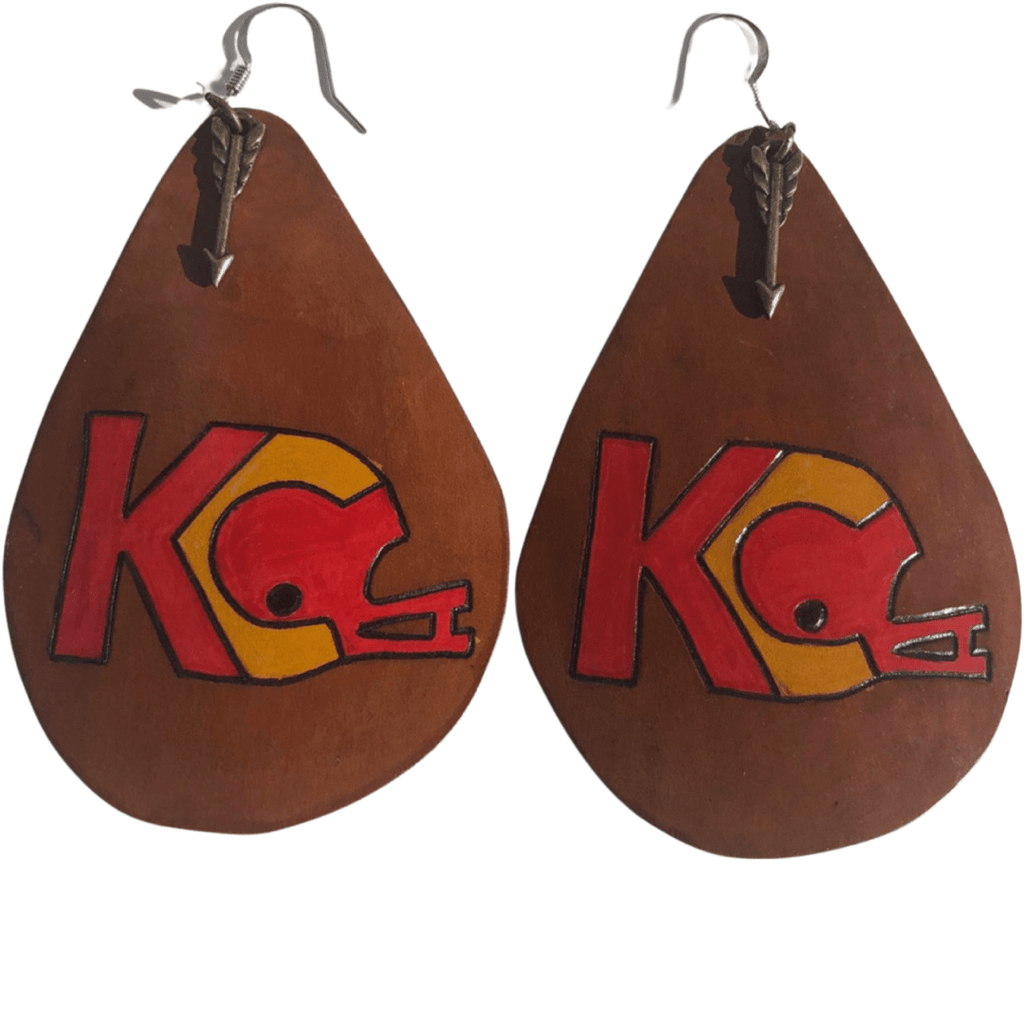 "CommandeerBrand 3"" long and 2"" wide KC Football Helmet Leather Earrings"