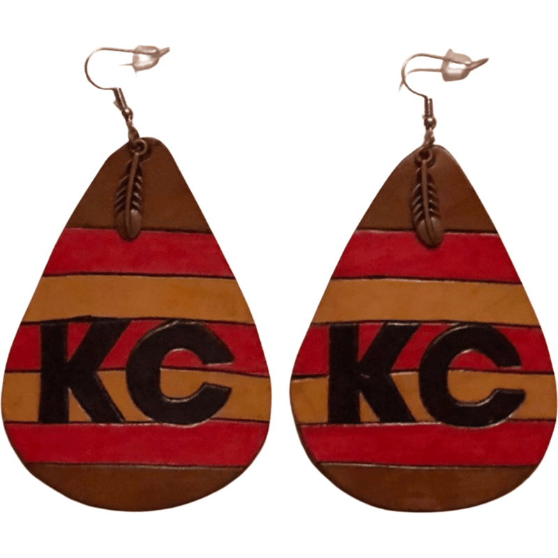 "CommandeerBrand 3"" long and 2"" wide KC Striped Leather Earrings"