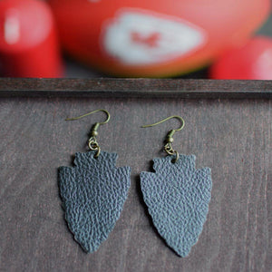 CommandeerBrand Arrowhead Leather Earrings - Black