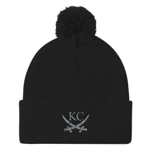 CommandeerBrand Black KC Crossed Swords Pom Beanie