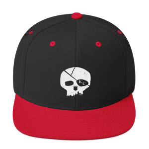 CommandeerBrand Black/ Red Skyline Skull Snapback Hat