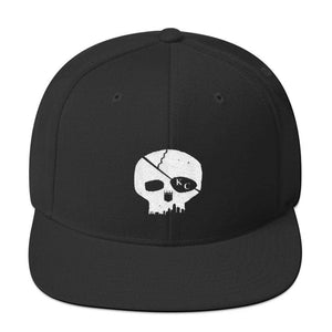 CommandeerBrand Black Skyline Skull Snapback Hat