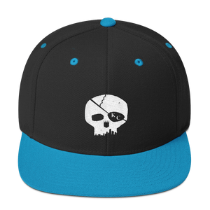 CommandeerBrand Black/ Teal Skyline Skull Snapback Hat