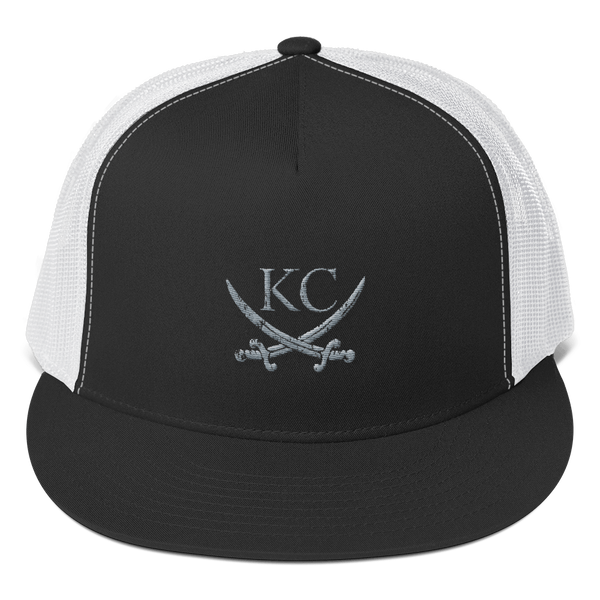 CommandeerBrand Black/ White KC Crossed Swords Trucker Hat