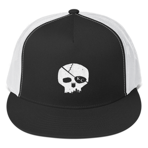 CommandeerBrand Black/ White Skyline Skull Trucker Cap