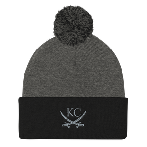 CommandeerBrand Dark Heather Grey/ Black KC Crossed Swords Pom Beanie